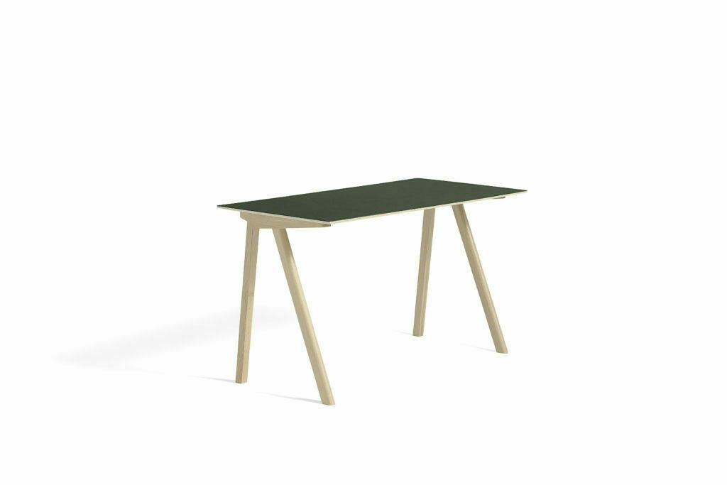 1045012049000_CPH90 Desk L130xW65_Matt lacquer oak base_Green lino